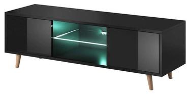 TV galds Vivaldi Meble Sweden 1 With LED Black/Black Gloss, 1400x420x450 mm