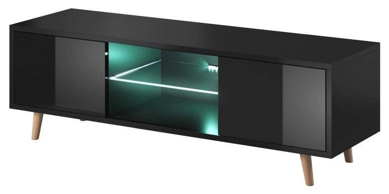 ТВ стол Vivaldi Meble Sweden 1, черный, 1400x420x450 мм