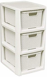 BranQ 3-pcs Rattan Basket Commode White