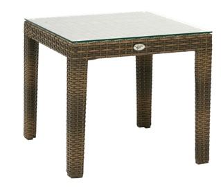Dārza galds Home4you Wicker Cappuccino, 50 x 50 x 45 cm