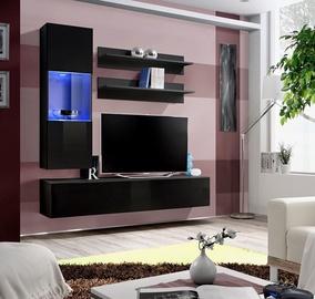 Dzīvojamās istabas mēbeļu komplekts ASM Fly H Horizontal Glass Black/Black Gloss