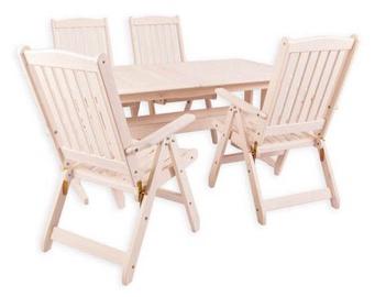 Āra mēbeļu komplekts Folkland Timber Lolland, balts, 4 sēdvietas