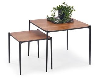 Kafijas galdiņš Halmar Guardia Square Walnut/Black, 600x600x500 mm