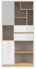 Black Red White Nandu Shelf 79.5x164x39cm Gray/Oak/White