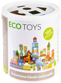 EcoToys Set Of 100 Wooden Blocks With A Animal Theme