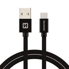 Swissten Textile USB To USB Type-C 3.1 Charge Cable 2m Black