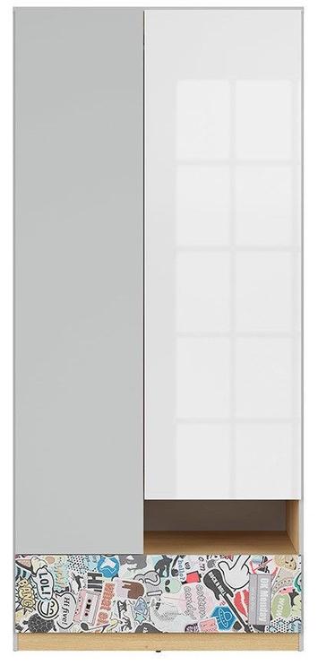 Skapis Black Red White Nandu Gray/Oak/White/Sticker, 90x55x200.5 cm
