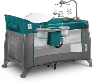 Ceļojuma gultiņa Lionelo Thomi 2in1 Green Turquoise