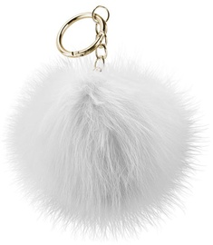 Beeyo Soft Fluffy Ring The Pompom & Smartphone Finger Holder White/Gold