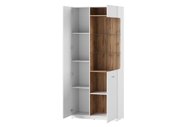 Szynaka Meble Wood 12 Display Unit White Gloss/Wotan Oak