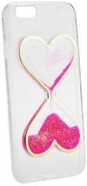 Forcell Quicksand Heart Design Back Case For Samsung Galaxy J1 J120 Transparent/Pink