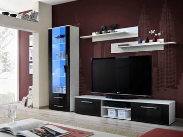 Dzīvojamās istabas mēbeļu komplekts ASM Galino A White/Black Gloss