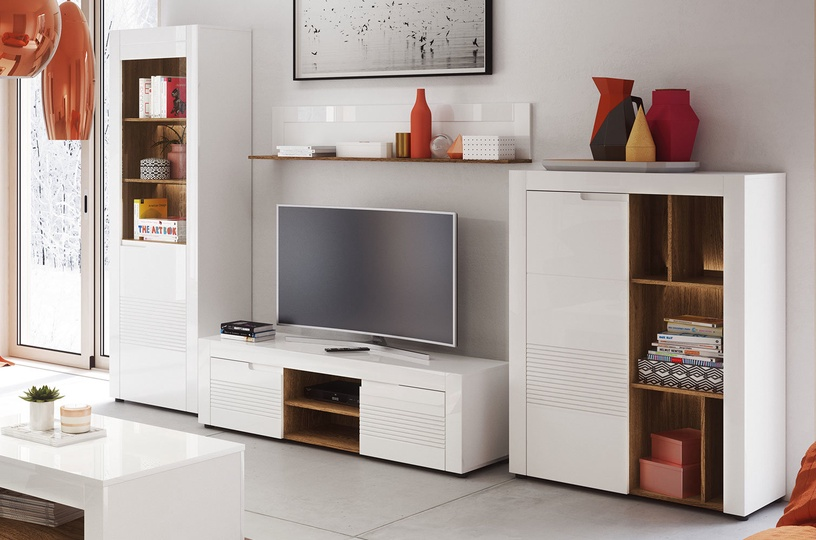 Szynaka Meble Glass Display Cabinets Belfort 10 White Left
