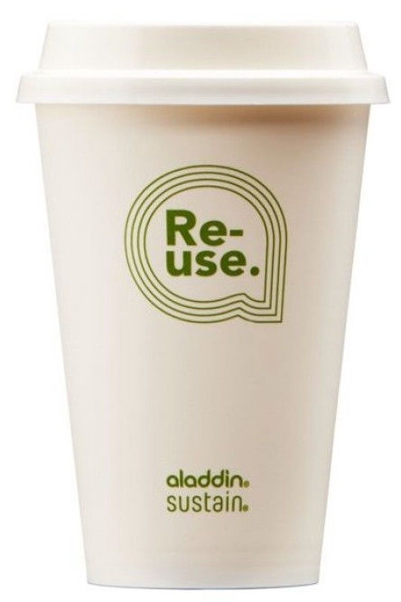 Aladdin Re-Use Sustain Cup & Lid 0.35L White 4pcs