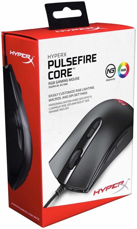 Spēļu pele Kingston HyperX Pulsefire Core Black, vadu, optiskā