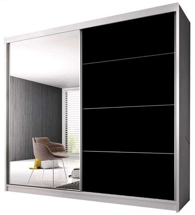 Skapis Idzczak Meble Multi 31 233 White/Black, 233x61x218 cm, with mirror