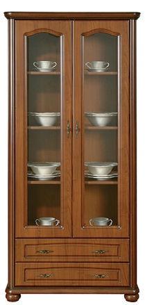 Black Red White Natalia Glass-Door Cabinet Brown