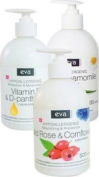 Šķidrās ziepes Eva Natura Hypoallergenic Vitamin E&D-Panthenol, 500 ml