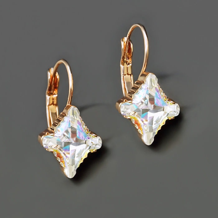 Diamond Sky Earrings With Crystals From Swarowski Crystal Romb II Aurore Boreale