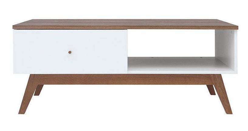 Kafijas galdiņš Black Red White Heda White/Larch, 1105x600x455 mm