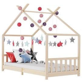 Bērnu gulta VLX Solid Pine Wood 283364, brūna, 146x78 cm