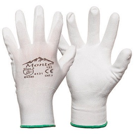 Monte Nylon Knitted Gloves With PU White 9