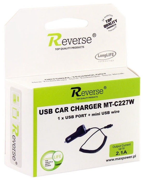Reverse MT-C227W Universal USB Car Charger With Mini USB Cable 1.2m Black