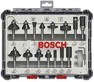"""Bosch Mixed Router Bit Set 1/4"""" 15pcs"""