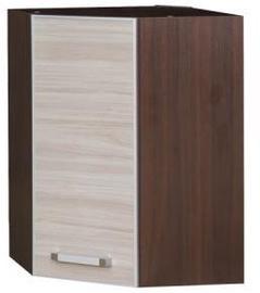 Augšējais virtuves skapītis Bodzio Ola Corner 53 Gloss Nut Latte, 530x310x710 mm