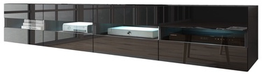 TV galds Vivaldi Meble Rita Double With LED Stand Black/Black Gloss, 2000x420x350 mm