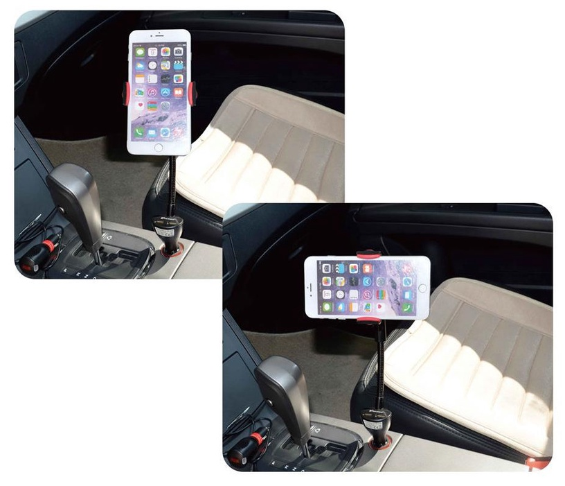 Vakoss Multi-function Car Holder With Dual USB Charger