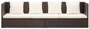 Dārza dīvāns VLX Poly Rattan 49392, brūna/bēša, 200 cm x 60 cm x 58 cm