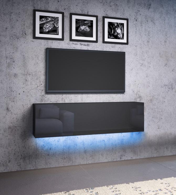Vivaldi Meble Vivo 03 Wall Shelf With LED Black/Black Gloss