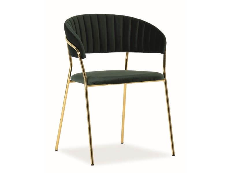 Ēdamistabas krēsls Signal Meble Lira Velvet Green/Gold, 1 gab.