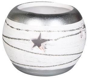 Svečturis Verners White/Silver, 9x8 cm