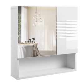 Songmics Wall Cabinet With Mirror White 54x55cm