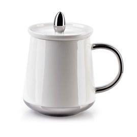 Mondex Basanti Cup With Lid 380ml White/Silver