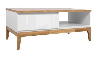 Kafijas galdiņš Black Red White Kioto White/Oak, 1100x600x455 mm
