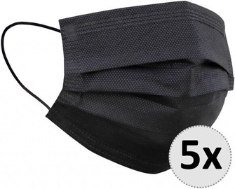 QJM Disposable 3-layer Protective Hygienic Face Mask Black 5pcs