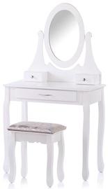 Kosmētikas galds Homede Nolite, balta, 75x40x136 cm, with mirror