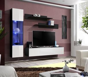 Dzīvojamās istabas mēbeļu komplekts ASM Fly G Horizontal Glass Black/White Gloss