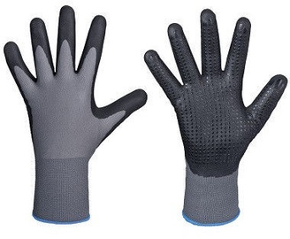 DD Nylon-Polyester Gloves With Dotted Nitrile Palm 11