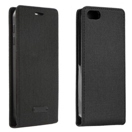 Forcell Canvas Flexi Vertical Book Case For Apple iPhone 7 Black
