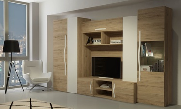WIPMEB Melbourne Wall Unit Set San Remo Oak/White Gloss