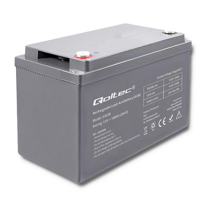 Qoltec AGM Battery 12V 100Ah Max 1200A