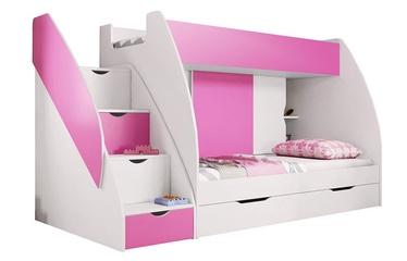 Двухъярусная кровать Idzczak Meble Marcinek White/Pink, 255x125 см
