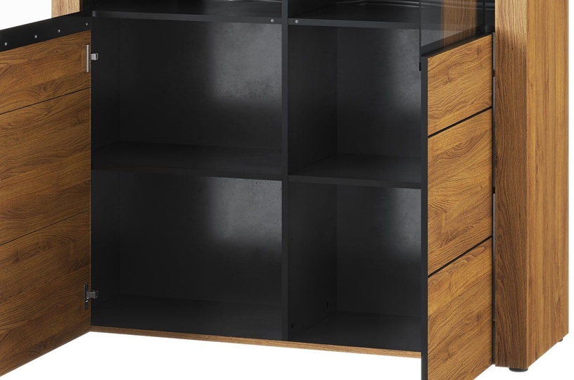 Szynaka Meble Kama 15 Display Unit Camargue Oak/Black Matt