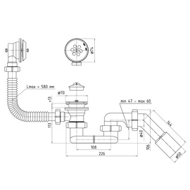 sifons Vanna E056EU 1 1/2 45°40x50 lokan (ANIPLAST)