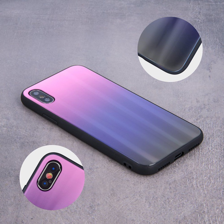 Mocco Aurora Glass Back Case For Samsung Galaxy A6 Plus Pink/Black