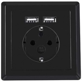 Lanberg Socket AC-WS01-USB2-F-B
